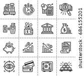 outline icons set of finance ... | Shutterstock .eps vector #686155201