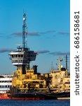 yellow icebreakers moored at...   Shutterstock . vector #686158681