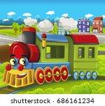 cartoon funny looking steam... | Shutterstock . vector #686161234