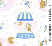 seamless pattern with cute... | Shutterstock .eps vector #686165149