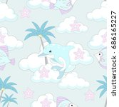 seamless pattern with cute... | Shutterstock .eps vector #686165227