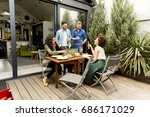 group of happy young people... | Shutterstock . vector #686171029