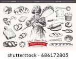 hand drawn bakery collection... | Shutterstock .eps vector #686172805