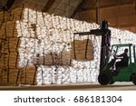 sugar bags product handling by... | Shutterstock . vector #686181304