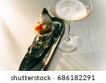oyster on ice cube with...