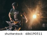 forge  blacksmith's work  hot... | Shutterstock . vector #686190511