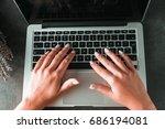 online shopping. female hands...   Shutterstock . vector #686194081