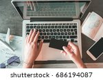 online shopping. female hands... | Shutterstock . vector #686194087