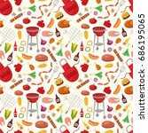 bbq seamless pattern with grill ... | Shutterstock .eps vector #686195065