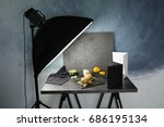 photo studio with professional... | Shutterstock . vector #686195134