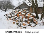 cat  sitting on firewood in the ... | Shutterstock . vector #68619613