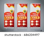 roll up sale banner design... | Shutterstock .eps vector #686204497