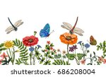 Stock vector vector vertical border with dragonflies butterflies flowers grass and plants summer style 686208004