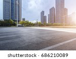 empty road with modern business ... | Shutterstock . vector #686210089