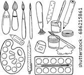 set of art school supplies ... | Shutterstock .eps vector #686215861