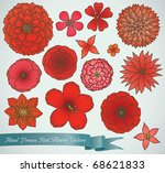 hand drawn red flower vector... | Shutterstock .eps vector #68621833