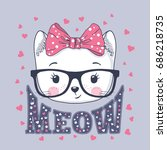 Stock vector cute cat little kitty with glasses bow meow slogan 686218735