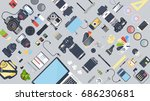 professional photographer... | Shutterstock .eps vector #686230681