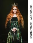 woman in green medieval dress | Shutterstock . vector #686236801