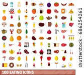 100 eating icons set in flat... | Shutterstock . vector #686254261