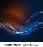 wave particles background   3d ... | Shutterstock . vector #686258767