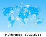 social media icons over world... | Shutterstock .eps vector #686265865