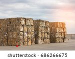 stack of paper waste before... | Shutterstock . vector #686266675