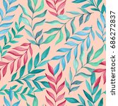 seamless beige pattern with... | Shutterstock . vector #686272837