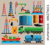 oil industry vector with... | Shutterstock .eps vector #686276611