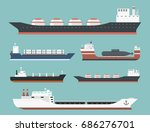 cargo vessels and tankers... | Shutterstock .eps vector #686276701