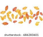 oak leaves flying confetti eps... | Shutterstock .eps vector #686283601
