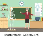 classroom with human skeleton... | Shutterstock .eps vector #686287675