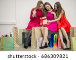 happy excited womans  she has... | Shutterstock . vector #686309821