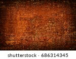 old red brick wall grunge... | Shutterstock . vector #686314345
