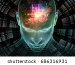 Radiating Mind series. 3D rendering of wire-mesh model of human head and fractal pattern suitable as a backdrop for the projects on human mind, artificial intelligence and virtual reality