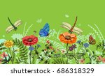 seamless border with... | Shutterstock . vector #686318329