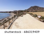 hiking trail at the... | Shutterstock . vector #686319409