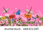 vector seamless border with... | Shutterstock .eps vector #686321185