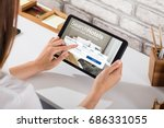 close up of a woman searching... | Shutterstock . vector #686331055