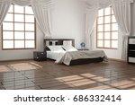 modern bedroom. 3d illustration | Shutterstock . vector #686332414