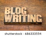 blog writing   word abstract in ... | Shutterstock . vector #686333554