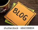 blog reminder   handwriting in... | Shutterstock . vector #686338804