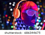 fantastic video of sexy cyber... | Shutterstock . vector #686344675
