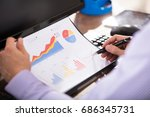 close up of a businessperson... | Shutterstock . vector #686345731