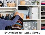 the european blond boy teenager ... | Shutterstock . vector #686348959