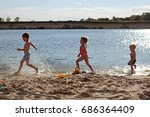 three children  two boys and... | Shutterstock . vector #686364409