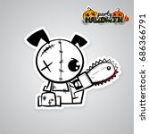 halloween evil dog blood saw... | Shutterstock .eps vector #686366791