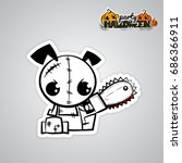 halloween evil dog blood saw... | Shutterstock .eps vector #686366911
