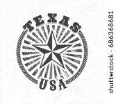 texas usa vintage illusion logo ... | Shutterstock .eps vector #686368681