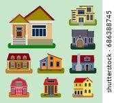 historical city modern world... | Shutterstock .eps vector #686388745